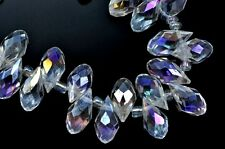 98x Teardrop Briolette Top-drilled Faceted Cut Glass Crystal Beads 12mm