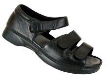 Propet Womens Pedic Black Leather Orthopedic Vlcro Walking Sandal Shoes Sz 10 2E