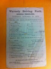 1878 Standardbred Horse Racing Program Waverly Park New Jersey