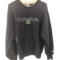 Champion Sweater Adult Large Blue Green Spell Out Hoodie Men 90s