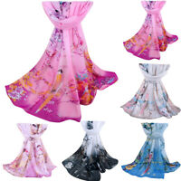 FT- Women Soft Magpie Floral Print Thin Chiffon Scarf Long Shawl Wrap Cape Candy