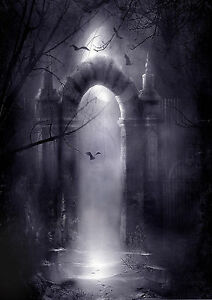 Spooky Eerie Gothic Gateway to a Misty Graveyard SEGG01 A3 A4 POSTER ART PRINT