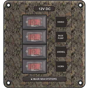 Blue Sea Systems BS-4323 Breaker/Switch Panel, 4 Pos., Camo