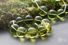 Caribbean Green Amber Bracelet Natural Beautiful Genuine Handmade 14 Round beads