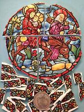 """ Mary, Jesus & Joseph Focal "" Broken China Plate Mosaic Tiles Pastel Religeous"
