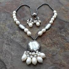 natural White Rice Pearl Biwa Pearl Hematite Necklace Earrings Set