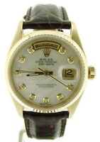 Mens Rolex Day-Date President 18K Yellow Gold Watch White MOP Diamond Dial 18038