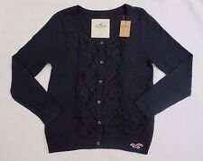 NWT Hollister Womens Floral Lace Cardigan Size Small Sweater Top Shirt Navy Blue