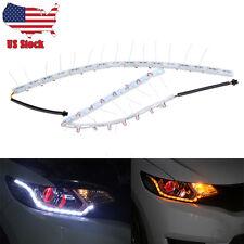 2xHeadlight Flexible 8 LED Strip Light White Amber Tear Eye Turn switchback Lamp