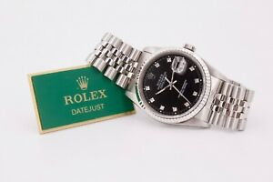 Rolex Datejust 16234 Watch Diamond hour markers 1989 with Box