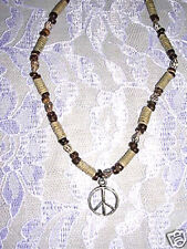 "NEW PEACE SIGN SYMBOL CAST PEWTER PENDANT ON 16"" SHELL & BEADS STRAND NECKLACE"