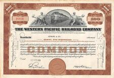 The WESTERN  Pacific Railroad Compagny Certificate 100 shares  1953 (19130)