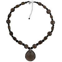 Halskette echt Silber 925 Sterling Rauchquarz Onyx 47-53 cm lang Kette
