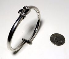 Vtg Modernist Onyx & Sterling Silver Clamper Bangle Bracelet Mexico UNISEX Fab