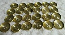 24 NEW SEW On Buttons 3/4 In SHINY Metal 4 Hole Brass JACKET COAT VEST GOLD TONE