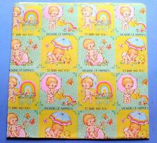 "VINTAGE BABY SHOWER GIFT WRAP PAPER 2 SHEETS 30"" X 20"" AMERICAN GREETINGS CUTE"