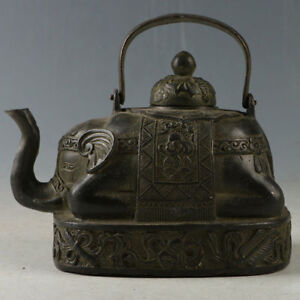 Chinese Rare Bronze Elephant Trunk Teapot Made By The Royal Daming