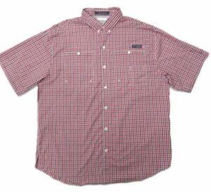 Columbia PFG Mens Super Tamiami Fishing Shirt Red Black Tattersall Mesh Lined XL