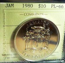 Jamaica 1980  10 Dollars Silver Proof  ICCS Certified -ULTRA High Grade