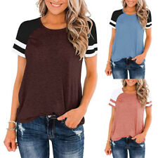 Women's Short Sleeve T Shirts Color Block Workout Tee Casual Tunic Athletic Tops