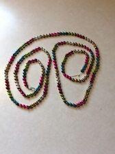 "Vtg Multi Colored  000019A1 Mercury Glass Bead Garland Strand Christmas Approx 61"" Triple"
