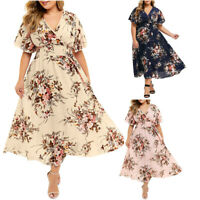 Plus Size Fashion Women Lady Floral Print V-Neck  Short Sleeve Casual Long Dress