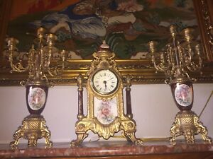ITALIAN reproduction ornate candelabra beautiful match with clock