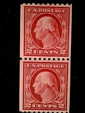 U S stamps Scott 442 two cent Washington coil pair mint cv 55.00 C