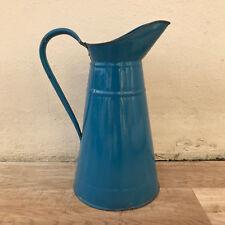 Vintage French Enamel pitcher jug water enameled blue 0501188