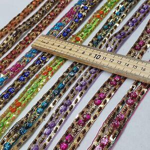 Indian Sew On Lace Stone Trimming Fringe Wedding Cake Sari Border Jar Bow Trim