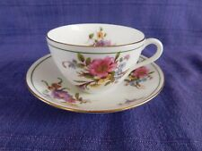 Aynsley CUP & SAUCER Purple & Pink Wild Flowers Green & Gold Trim