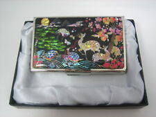 Slim Business Card Case  Stainless Colorful Animals Mother of Pearl