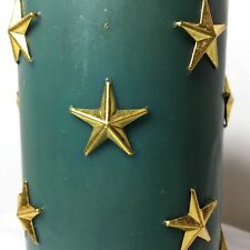 Lord & Taylor Teal Blue Pillar Candle Star Studded Christmas Patriotic Gold