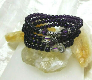 Calming Amethyst Wrap Bracelet Necklace Natural Stone Handmade Gift Ideal