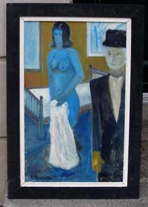 Nude blue woman. German Modern Mid-Century oil. Signed.