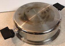"ROYAL PRESTIGE Stainless Steel Dome Lid Skillet Fryer Double Handle Pan 10.75"""