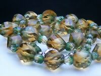 Vintage Bi-Colour Green Amber Crystal Glass Bead Necklace Japanese Japan Clasp