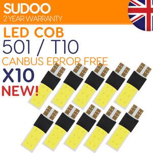 10x 501 w5w Led Bulb White T10 Xenon Canbus Error Free Side light Wedge Cob 12v