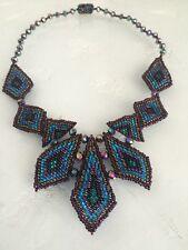 Czech Glass Bead Multi Triangle Statement Pendant Necklace Purple, Blue, Bronze
