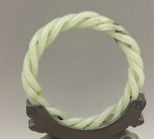Old natural hetian jade hand craved bracelet hollowed out three layer bangle