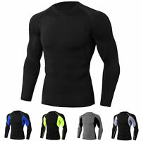 Men's Athletic Compression Tops Sport Gym Running Long Sleeve T Shirt Cool Dry