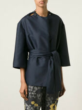 NEW NWT LANVIN COLLARLESS SILK BLEND JACKET WITH SELF BELT in NAVY SZ 40 FR 4/6
