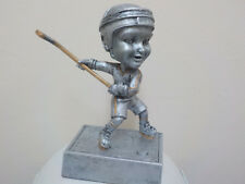 "Hockey Bobble head trophy award with engraving, about 5.5"" tall, platinum color"