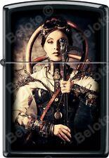 Zippo Steampunk Woman Gun Black Matte WindProof Lighter NEW