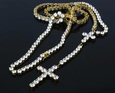 Jewelry Gold Stainless Steel Cubic Zirconia Rosary Tennis Necklace NM1015GD