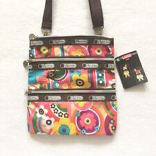 New LeSportsac Tokidoki Triple Zipper Floral Flower Print Hipster Crossbody Bag
