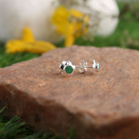 Natural Emerald Studs 925 Sterling Silver Beautiful Earrings For Women Jewelry