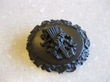 Antique Mourning? Pin Brooch Broom Roses /Ivy Morning Glory Forget-Me-Not Border