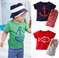 2pcs Toddler Kids Baby Boys T-shirt Tops+Stripe Pants Summer Outfits Clothes Set