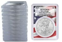 2019 1oz Silver Eagle PCGS MS70 First Day Issue Flag Frame 10 Pack